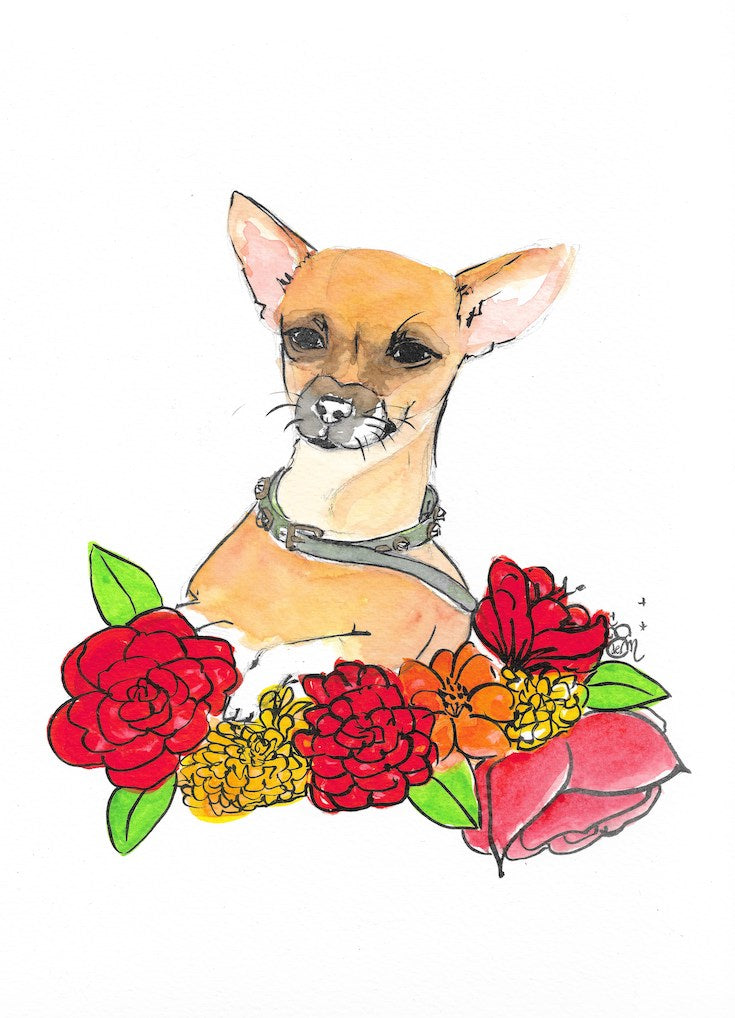 Chiwawa, Illustration, Beautiful Chiwawa illustration, watercolor, aquarelle, flowers, mexican inspiration, Frida, dog, red flower, hand made, Edemota, Edwidge De Mota, Home decor, Boho decor, Chiwawa fan