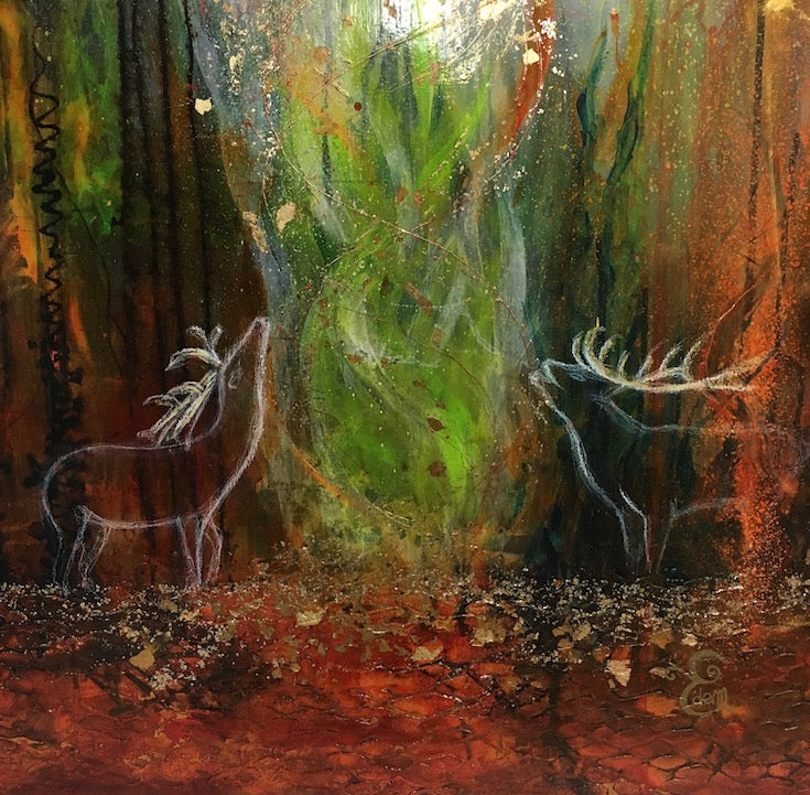 Deer, magical, whimsical, painting, Biche, Cerf, magie, animal,