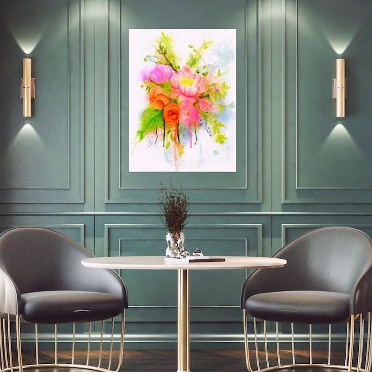 Flower, Bouquet, Abstract floral, Street art style, Painting,