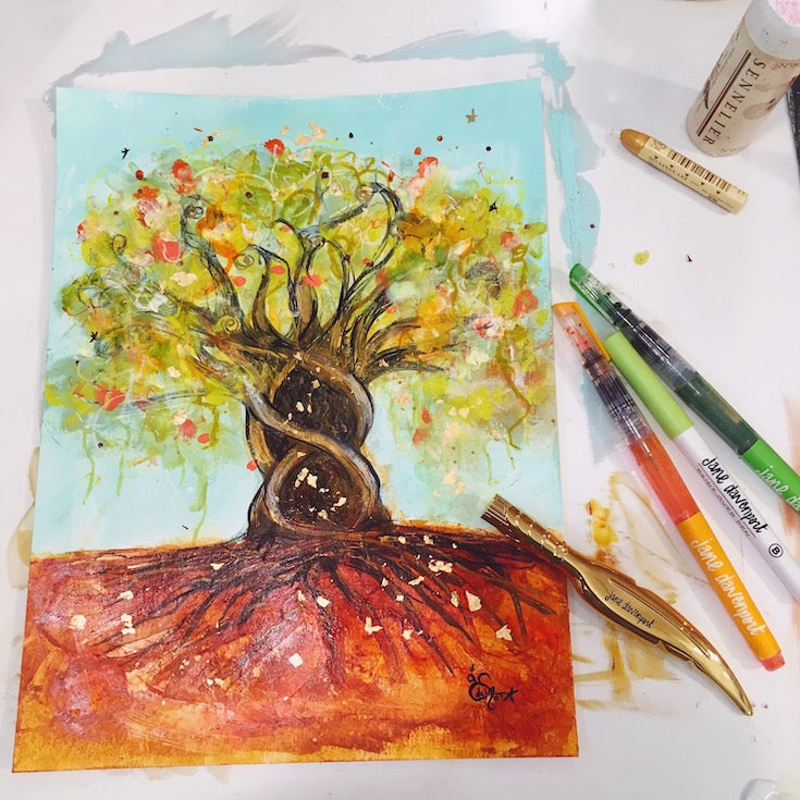 arbre de vie, life tree, mixed media artwork, aqua blue, roots, joyfull artwork, home decor, Edemota, Edwidge De Mota, Jane Davenport products,