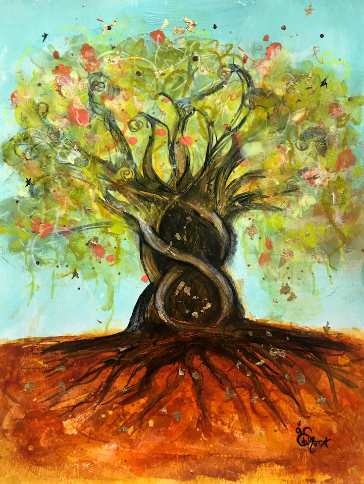 arbre de vie, life tree, mixed media artwork, aqua blue, roots, joyfull artwork, home decor, Edemota, Edwidge De Mota