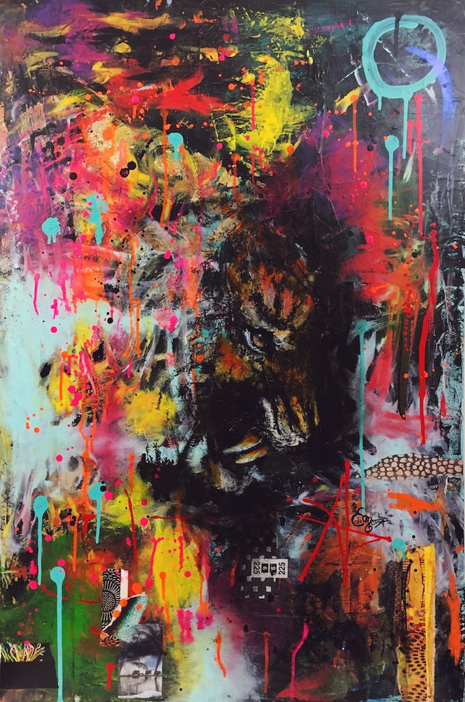 Tiger, Eye tiger, fluo colors, very cool artwork, street art style, street art inspiration, cool painting, beautiful tiger