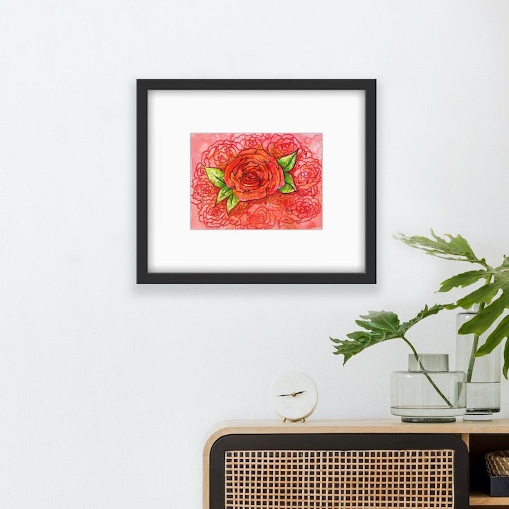 Rose, Red, Illustration, paint, Watercolor, drawing, colorfull, vibrant, home decor,