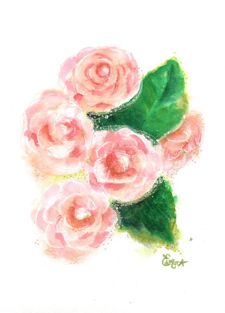 camelia illustration, camélia, illustration, watercolor, mixed media, hand drawing, beautiful artwork with camelia, aquarelle, sweet decor, sweet artwork, rose, pink, sweet pink, homedecor, edemota, edwidge de mota,