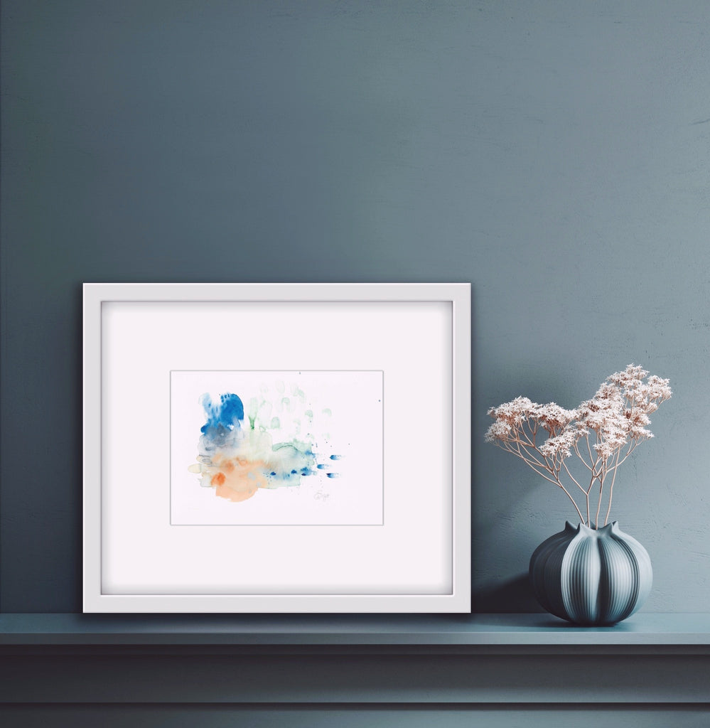 Abstract, Blue, Mint green, Coral, Indigo, Home decor, Chic, watercolor, Edwidge De Mota, Edemota