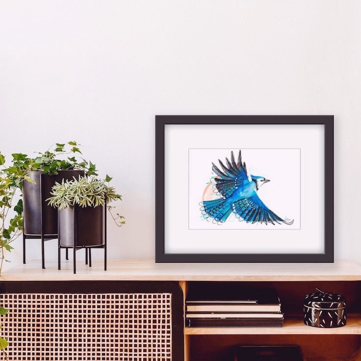 Blue Jay bird, Blue Jay illustration, hand made illustration, Geai bleu illustration, watercolor, mixed media, drawing, Edwidge De Mota, Edemota, Home decor, Blue decor, original artwork,
