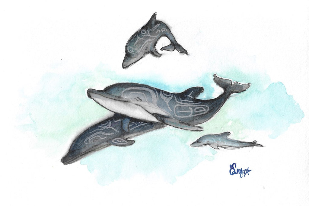 Dauphin, Dolphin, Haida, Totem, Illustration, Watercolor, Aquarelle, Animal, Edemota, Edwidge De Mota, Haida