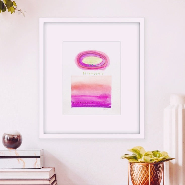 watercolor, vivid color, abstract watercolor, boho decor, home decor, cercle, magenta, purple, orange, terra cotta