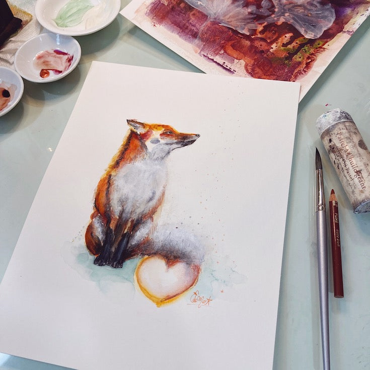 Fox, Renard, Illustration, Aquarelle, Watercolor, Mixed Media, Sweet illustration, Home decor, Edwidge De Mota, Edemota