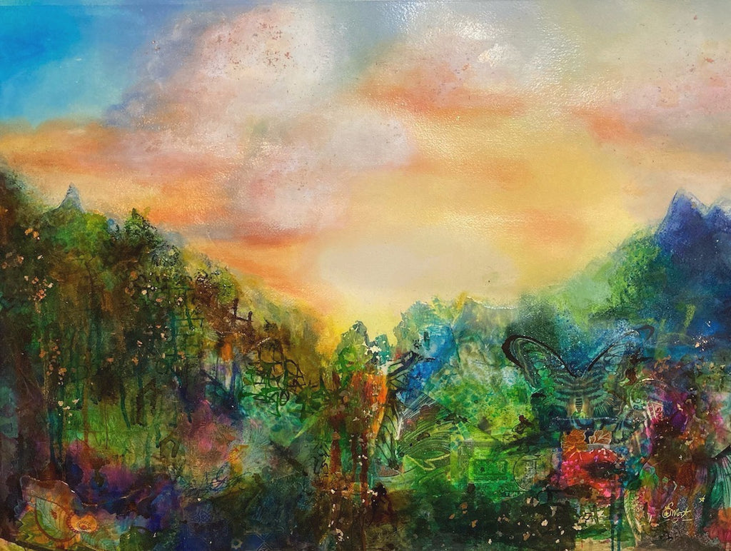 Abstract landscape, mixed media artwork, collage, Sunset, Mindvalley, Sun, Light, Hope, Joy, Edwidge De Mota, Edemota