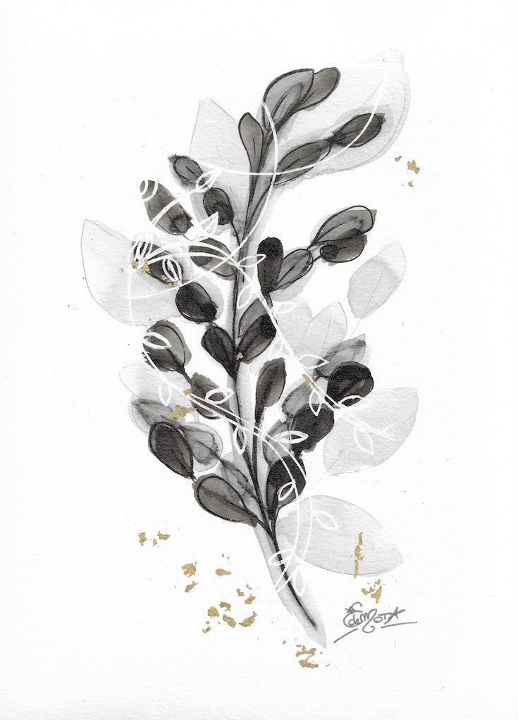 Floral, black and white, gold, chic artwork, chic watercolor, abstract floral, edwidge de mota, Edemota, Boho decor, home decor
