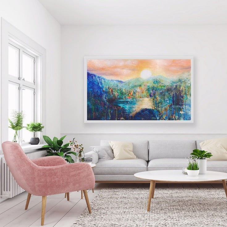 Abstract landscape, mixed media artwork, Mindvalley, collage, Sunset, Sun, Light, Hope, Joy, EdeMota, Edwidge De Mota, artist, contemporary art, conscious art, mindfull art, montreal, artist, canadian artist, woman artist, french artist