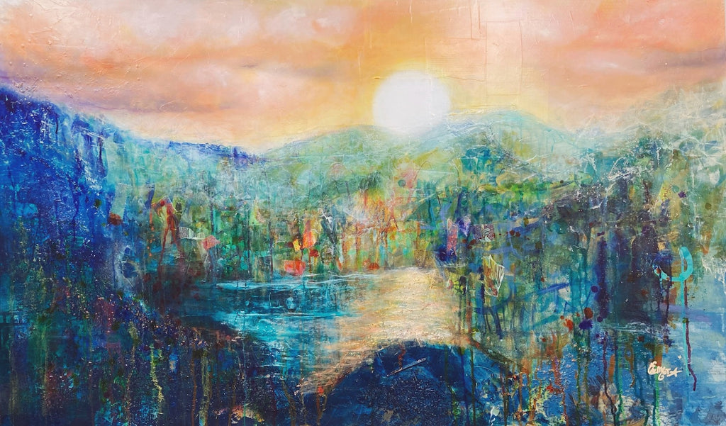 paysage abstrait, abstract landscape, beautiful artwork, beautiful sunset, water, ocean, island, paradise, sky, orange, deep blue, blue, green, collage, mixed media, Edemota, Edwidge De Mota, contemporary art, woman artist, montreal artist, canadian artist, french artist,