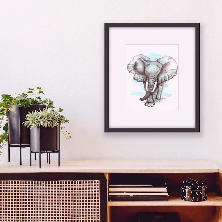 Éléphant, elephant, Africa, Animal, Totem, African animal, Sacred animal, Cool Artwork, Home decor, Baby room decor, Edemota, Edwidge De Mota, Brown, Blue, Black
