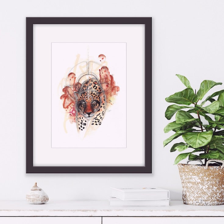 Jaguar, Illustration, Jaguar artwork, Fauve, Jungle, Safari, Tiger, Lion, Wild cat, Watercolor, Gouache, Totem animal, Mystic artwork, Edwidge De Mota, Edemota, Boho home decor, nature home decor