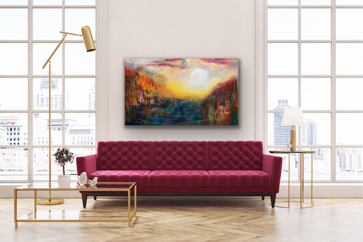 Abstract landscape, mixed media artwork, collage, Sunset, Sun, Mindvalley, Light, Hope, Joy,