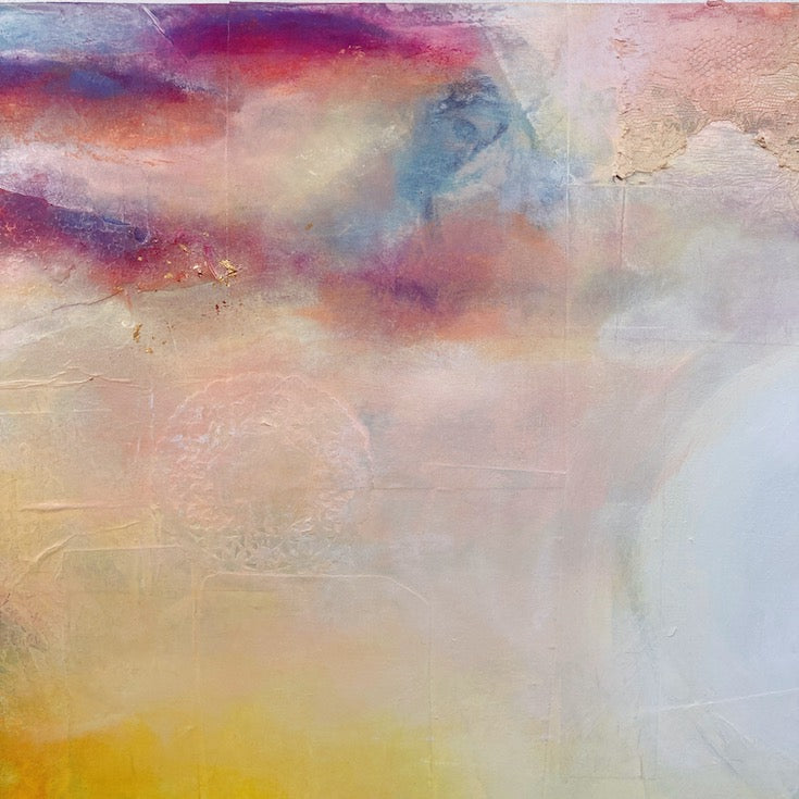 Abstract landscape, mixed media artwork, collage, Mindvalley, Sunset, Sun, Light, Hope, Joy,