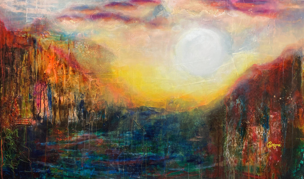 Abstract landscape, mixed media artwork, Mindvalley, collage, Sunset, Sun, Light, Hope, Joy,