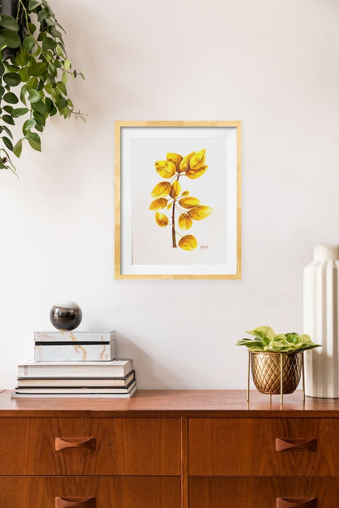 Tree leaves, Golden leaves, Watercolor, Sweet watercolor artwork, Tremble tree leaves, Illustration