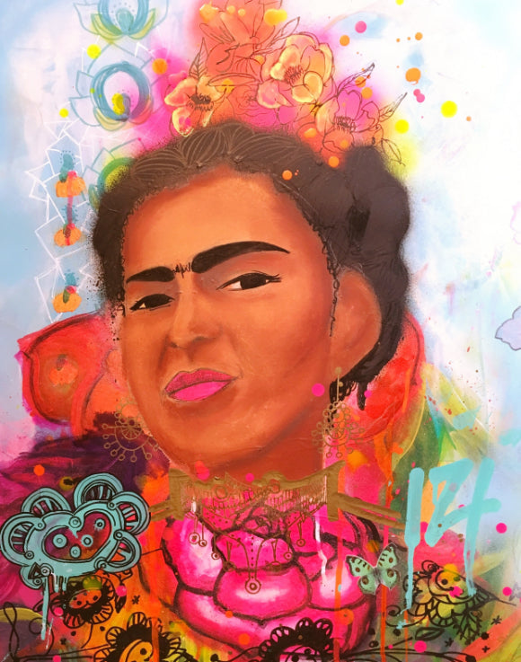 Frida, Frida Kahlo, Street art style, Cool Artwork, Frida artwork, vivid color, fluo color