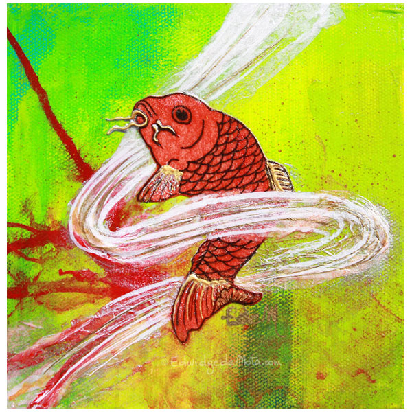 Golden fish, red fish, poisson rouge, asian fish, poisson de lune, poisson asiatique, peinture, artwork, cool painting, fluo green, vert fluo, edemota, edwidge de mota,