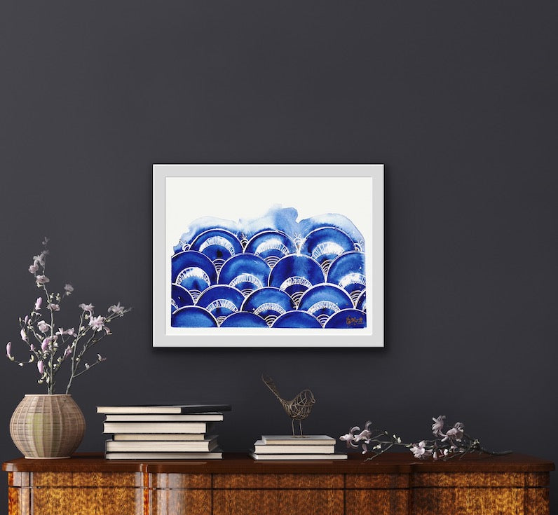 Indigo, Blue, Shibori, Japanese inspiration, pattern, waves, japanese waves, boho decor, home decor