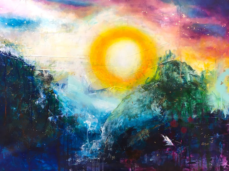 Abstract landscape, mixed media artwork, collage, Sunset, Sun, Light, Mindvalley, Hope, Joy,