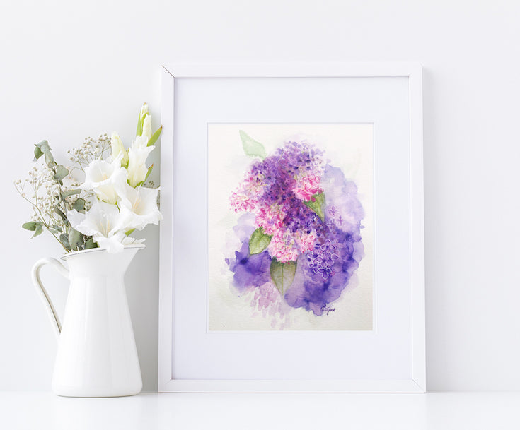 lilacs, watercolor, artwork, mixed media, lilas, violet, purple,
