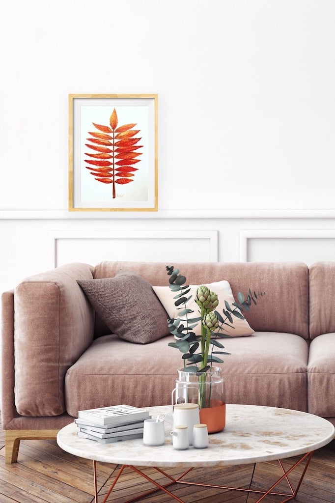 Staghorn sumac, illustration, Sumac Vinaigrier, watercolor, aquarelle, Home decor, wall art