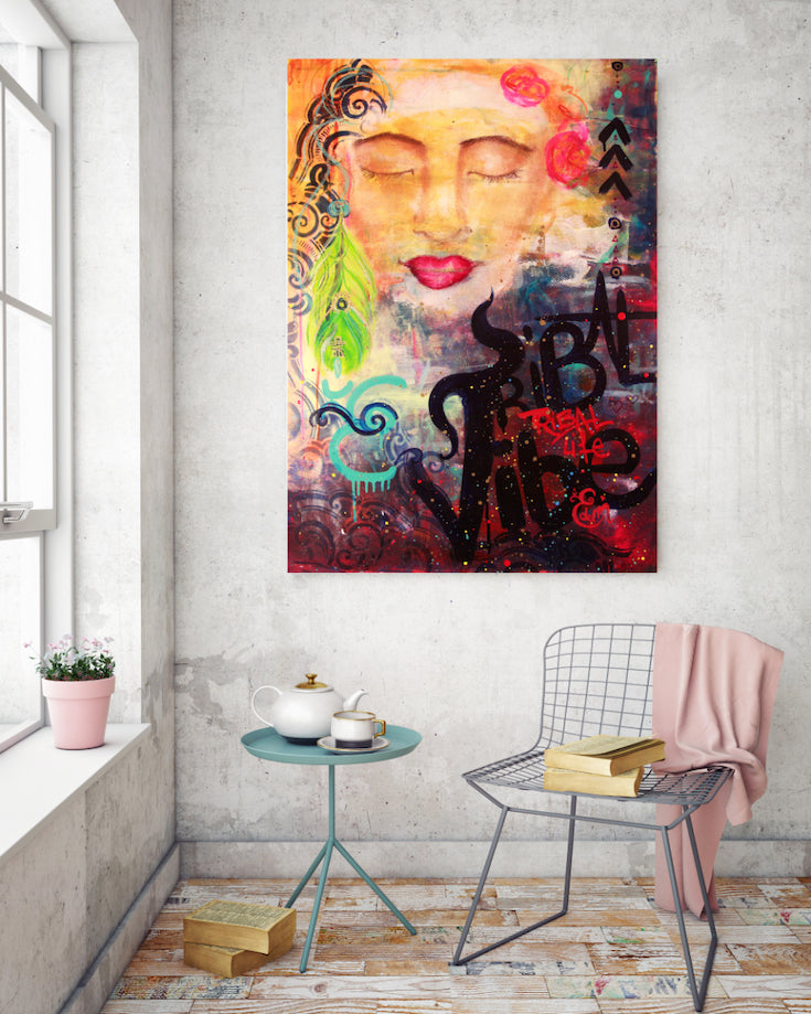 woman, black woman, ethnic woman, artwork, street art style, dreaming woman, painting