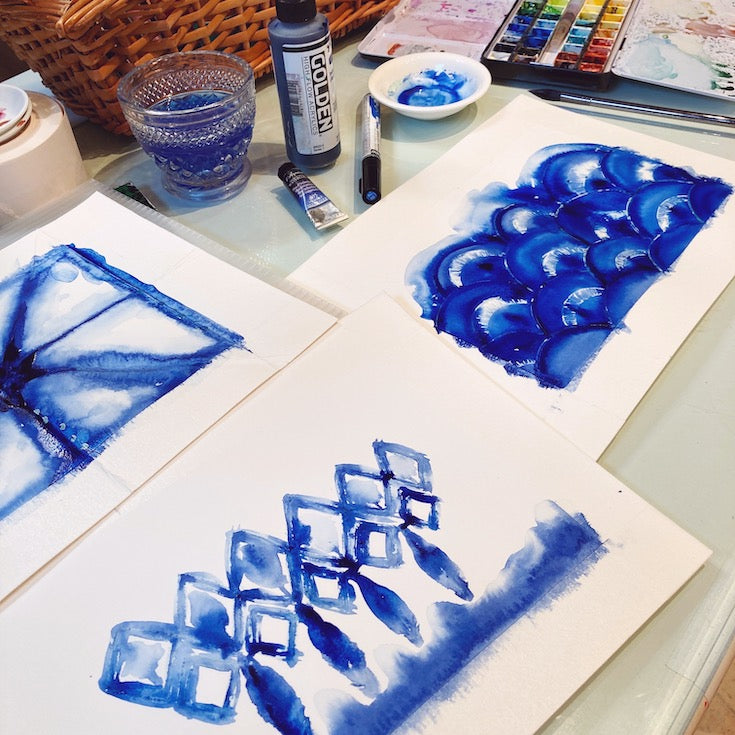 Indigo, Blue, Shibori, Japanese inspiration, pattern, waves, japanese waves