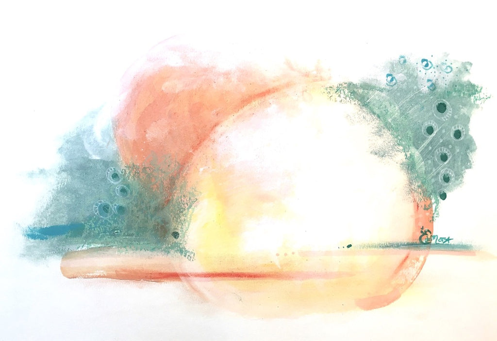 Abstract artwork, mint green, eucalyptus green, coral, sun, sunset