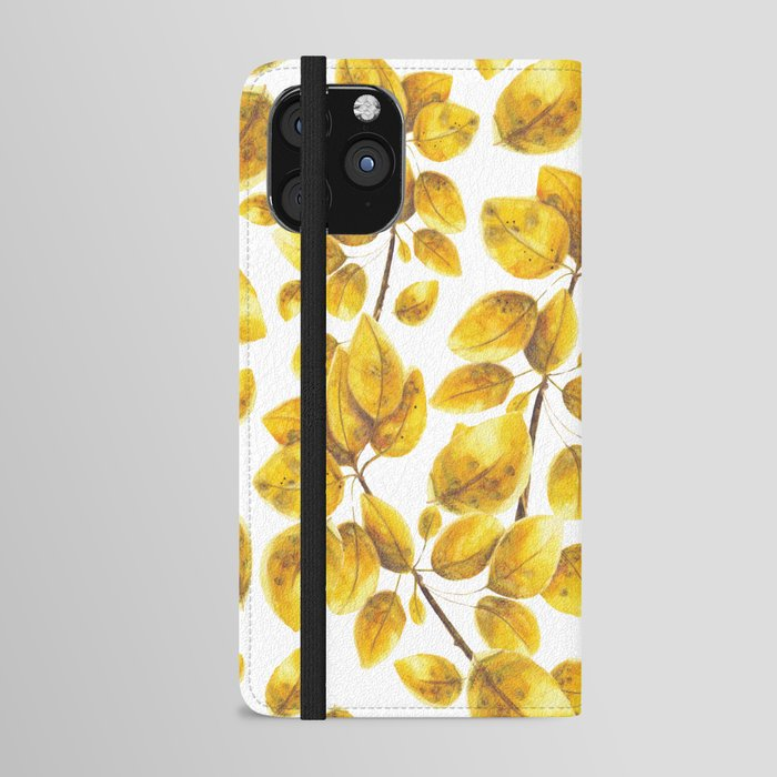 Tree leaves, Golden leaves, Phone Case, Watercolor, Sweet watercolor artwork, Tremble tree leaves, Illustration