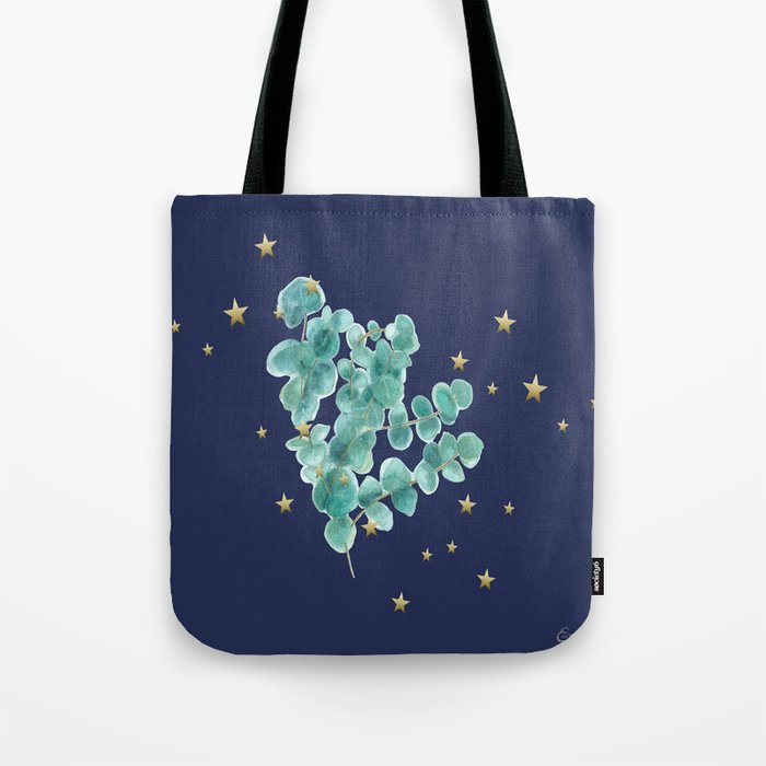 Eucalyptus branch, Golden Star, Deep blue, Tote bag,Sweet branch of eucalyptus, watercolor, aquarelle