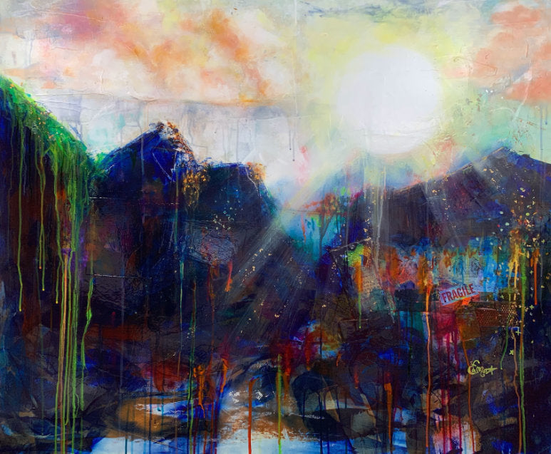 Abstract landscape, mixed media artwork, collage, Sunset, Mindvalley, Sun, Light, Hope, Joy,