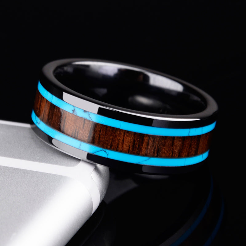 Premium Ceramic Ring with Wood Inlay