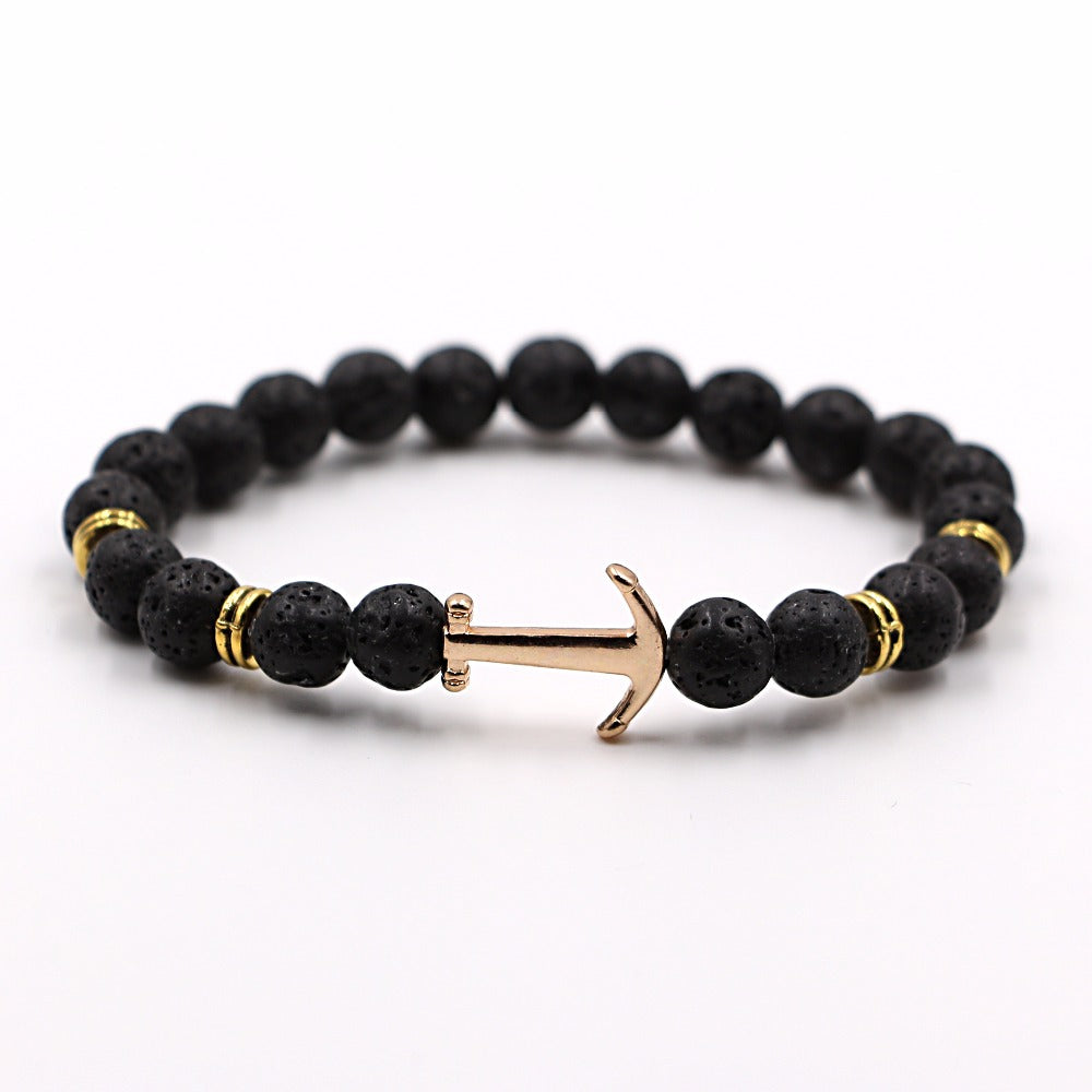 Anchor Volcanic Rock Bracelet