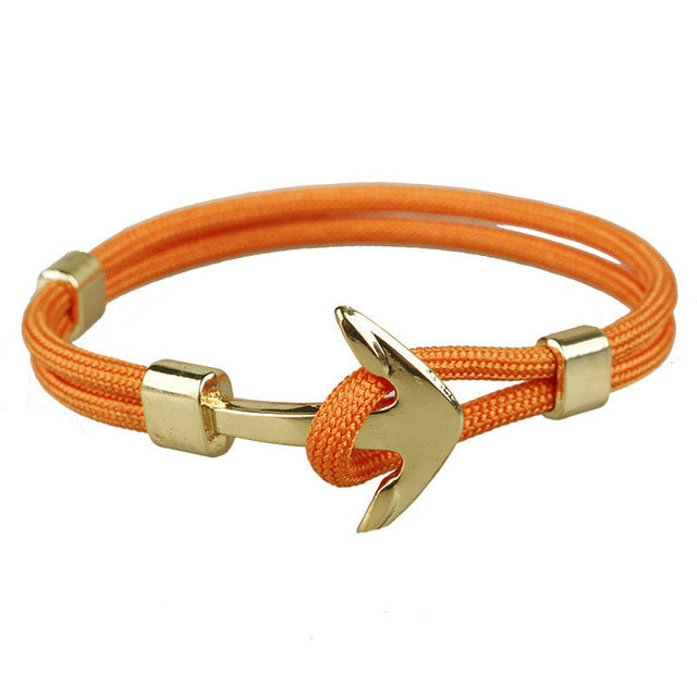 Orange Unshakable Anchor Rope Bracelet