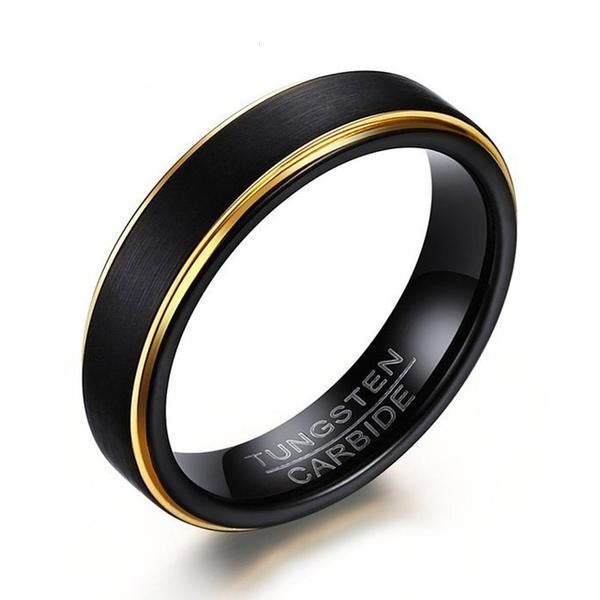 Black & Gold Tungsten Ring