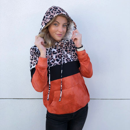 COZIEST LEOPARD COLORBLOCK HOODIE (Available in 3 Colors!)
