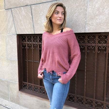 Frayed Knot V-Neck Sweater (Available in 3 Colors!)