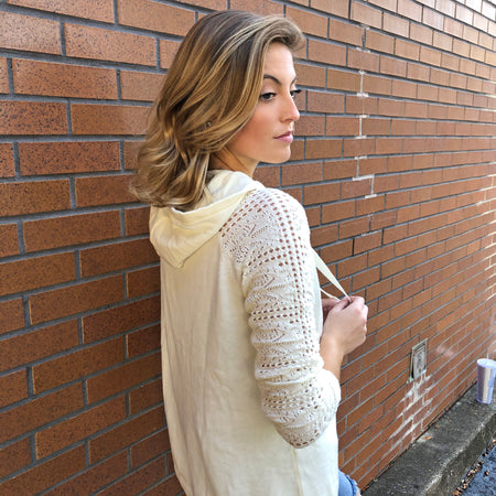 PRETTY LITTLE LACE HOODIE SWEATER