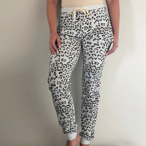 GONE WILD LEOPARD PRINT FRENCH TERRY JOGGER