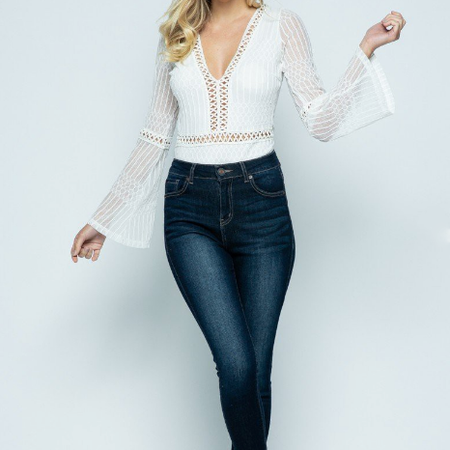 PRETTY LONG BELLE SLEEVE LACE BODYSUIT