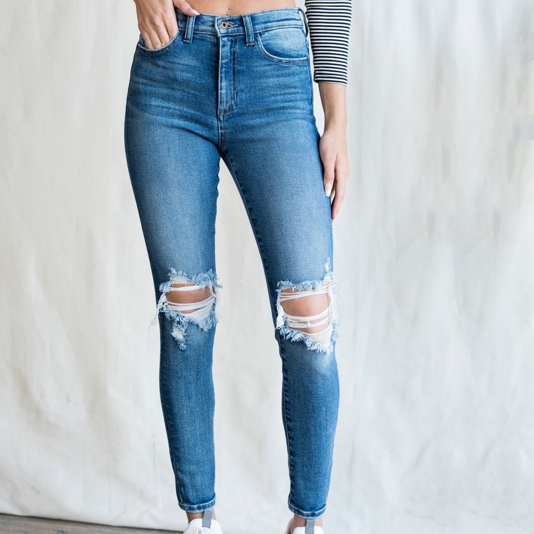 PERFECTLY FIT HIGH RISE SKINNY JEANS w/ KNEE DISTRESSING