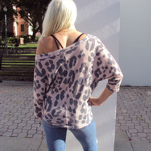 LEOPARD LOOSE KNIT DOLMAN SLEEVE TOP (Available in 2 Colors!)