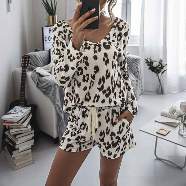 Leopard Loungewear Off The Shoulder Tee & Shorts Set