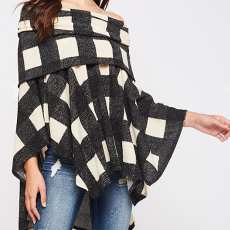 Mad About Plaid Off-The-Shoulder Plaid Poncho