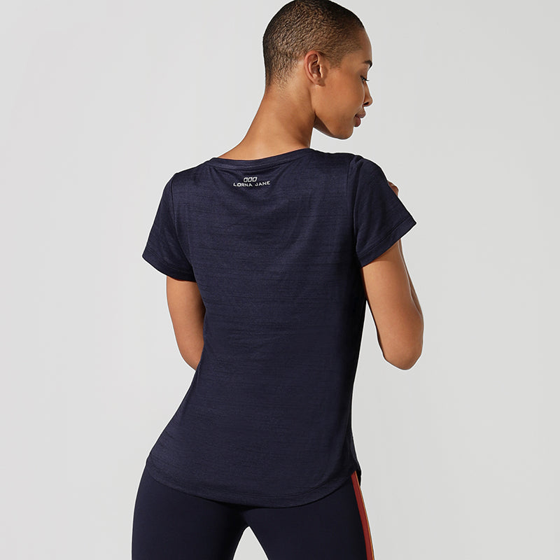 Lorna Jane Short Sleeved V Neck Tee - Navy Heather - SKULPT Dublin