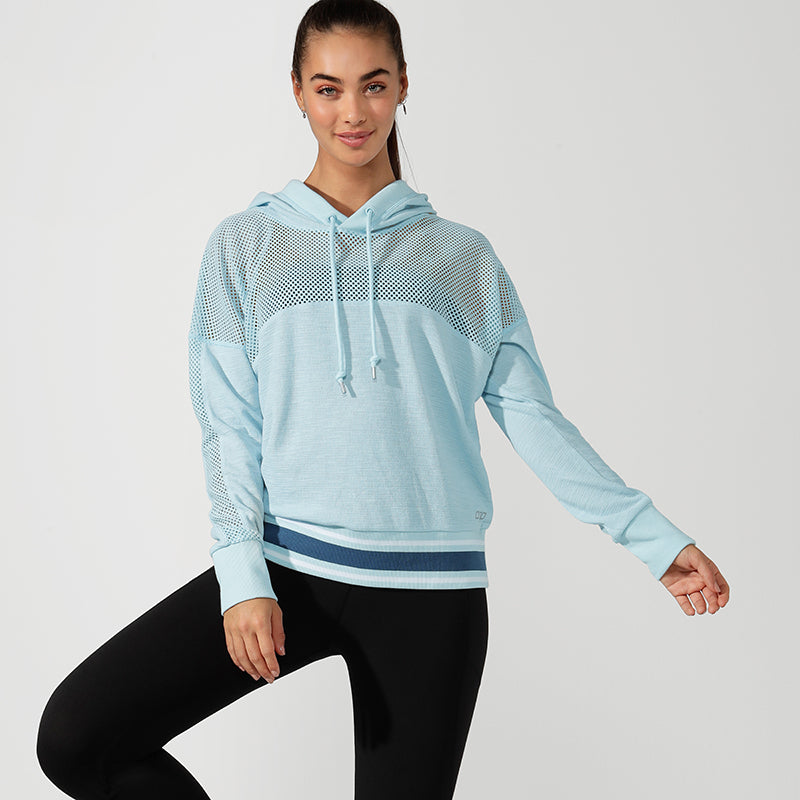 Lorna Jane Workout Mesh Jumper with Hood - Turquoise - SKULPT Dublin
